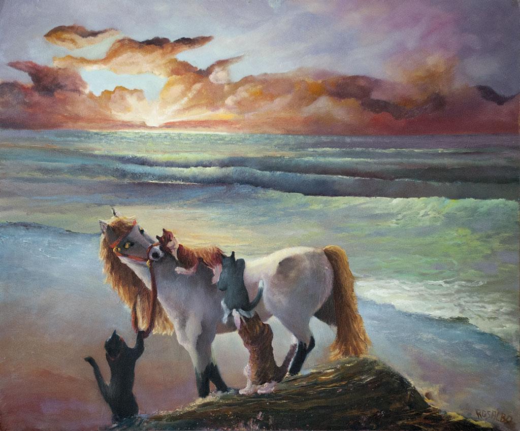 Gatti con cavallo al mare