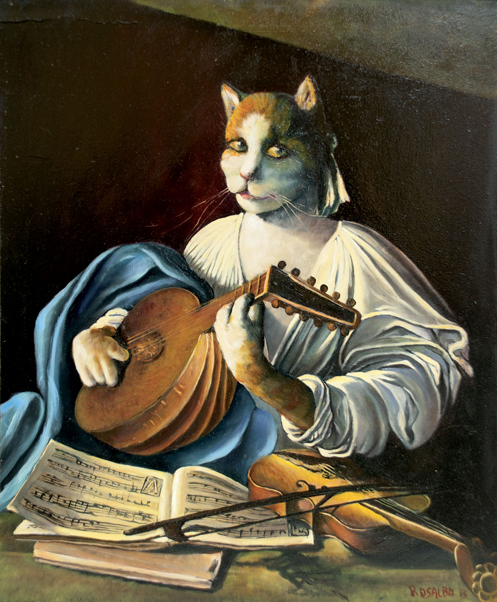 Cat with lute