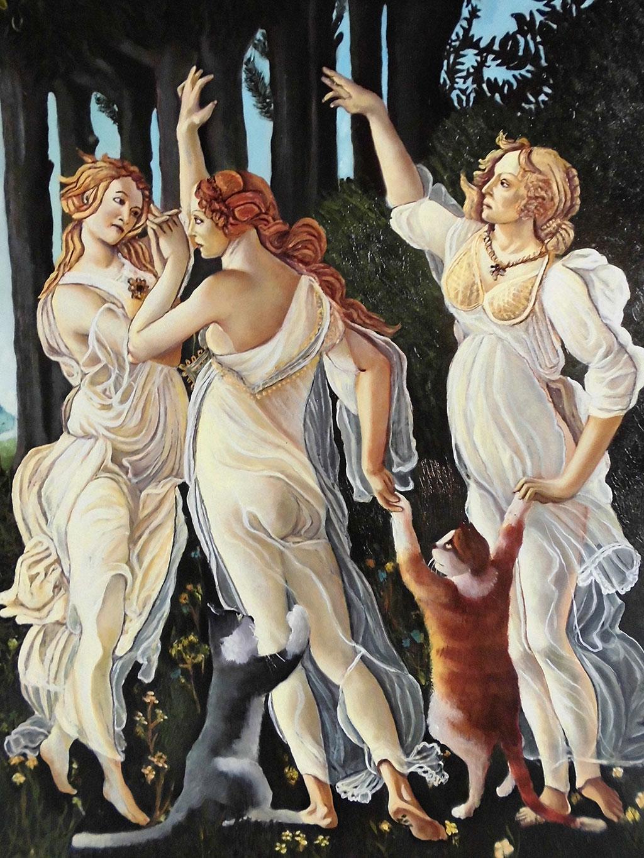 Le tre grazie ballano con i gatti